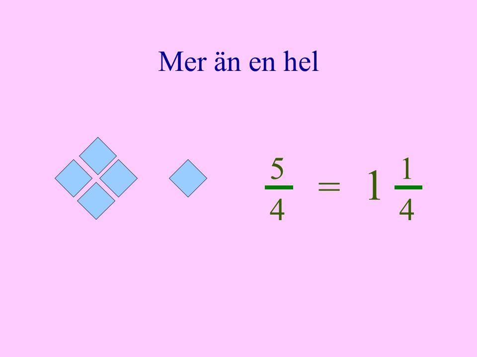 Mer än en hel 5 1 1 = 4 4
