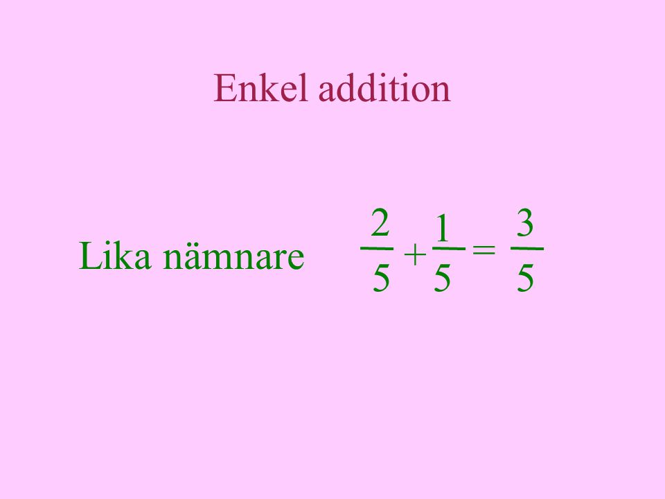 Enkel addition 2 3 1 = Lika nämnare + 5 5 5