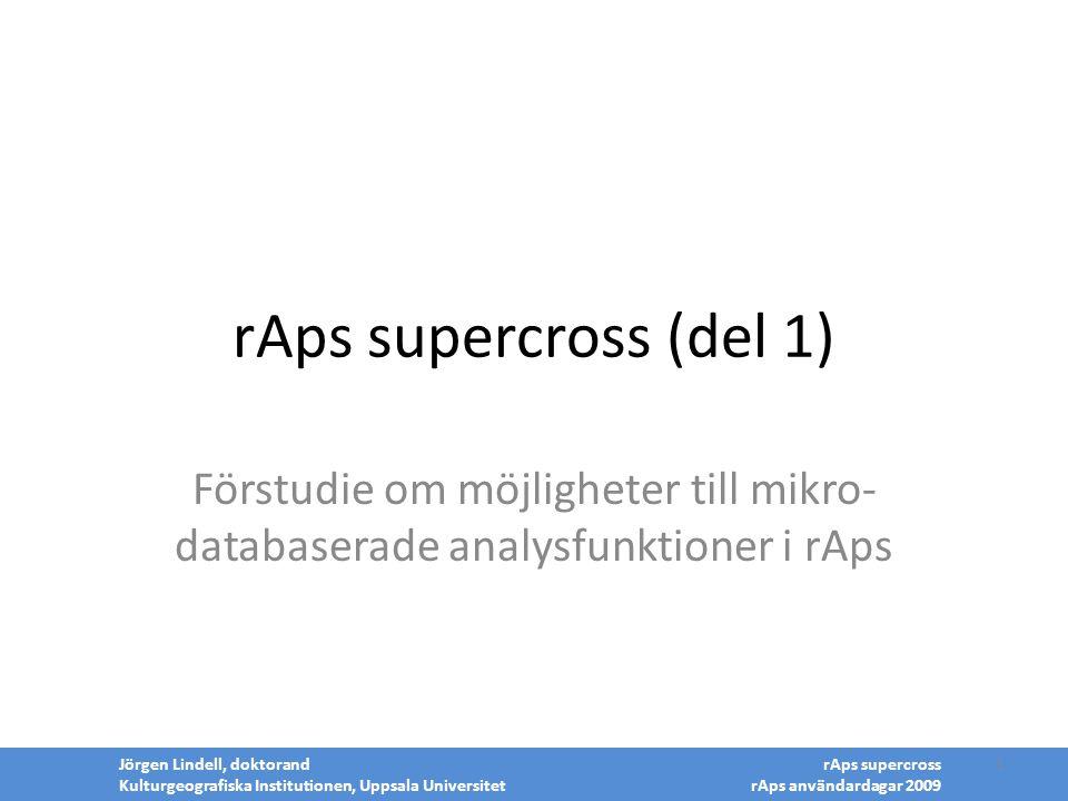 rAps supercross (del 1) Förstudie om möjligheter till mikro-databaserade analysfunktioner i rAps. Jörgen Lindell, doktorand.