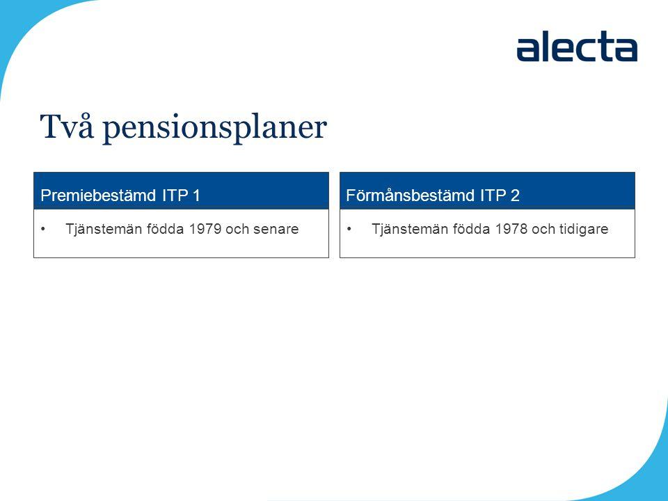 Två pensionsplaner Premiebestämd ITP 1 Förmånsbestämd ITP 2