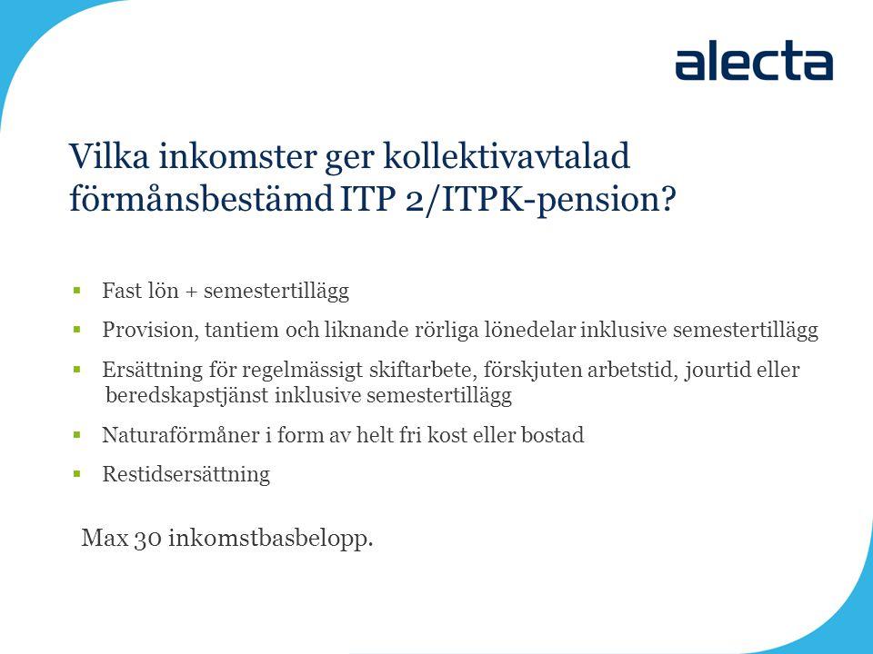 Vilka inkomster ger kollektivavtalad förmånsbestämd ITP 2/ITPK-pension