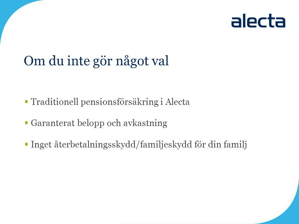 Om du inte gör något val Traditionell pensionsförsäkring i Alecta