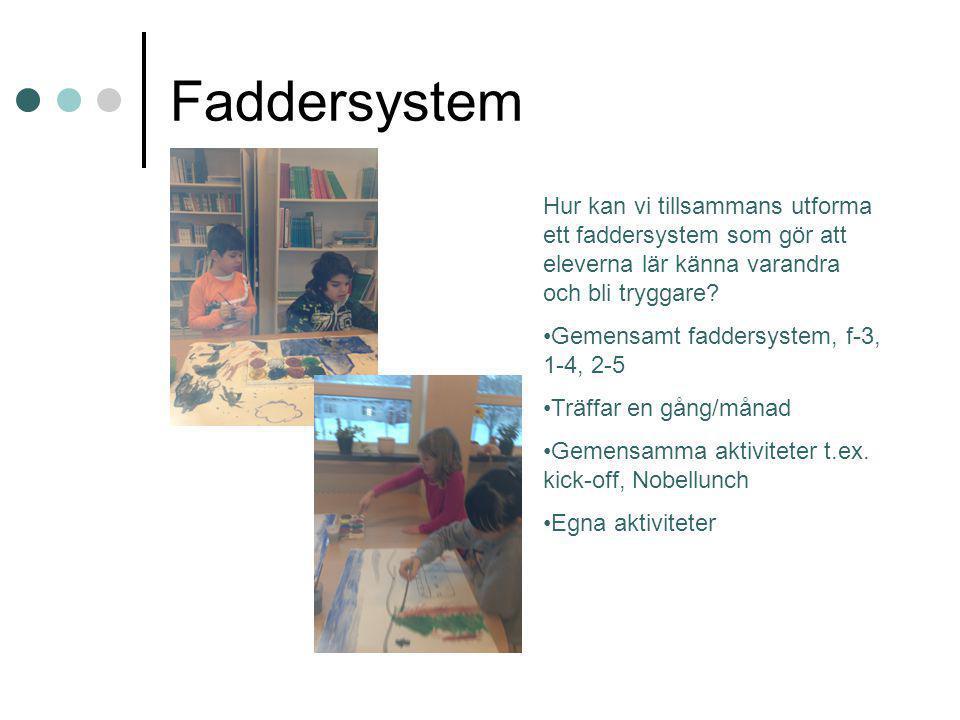 Faddersystem Hur kan vi tillsammans utforma ett faddersystem som gör att eleverna lär känna varandra och bli tryggare