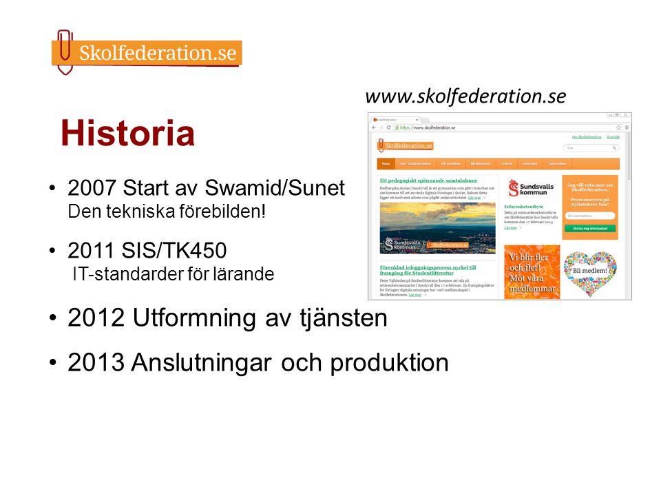 Historia 2012 Utformning av tjänsten 2013 Anslutningar och produktion