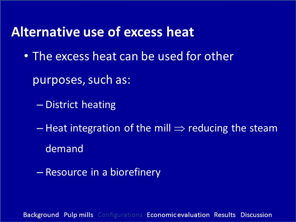 Alternative use of excess heat