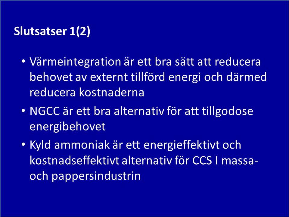 Slutsatser 1(2) Värmeintegration är ett bra sätt att reducera behovet av externt tillförd energi och därmed reducera kostnaderna.