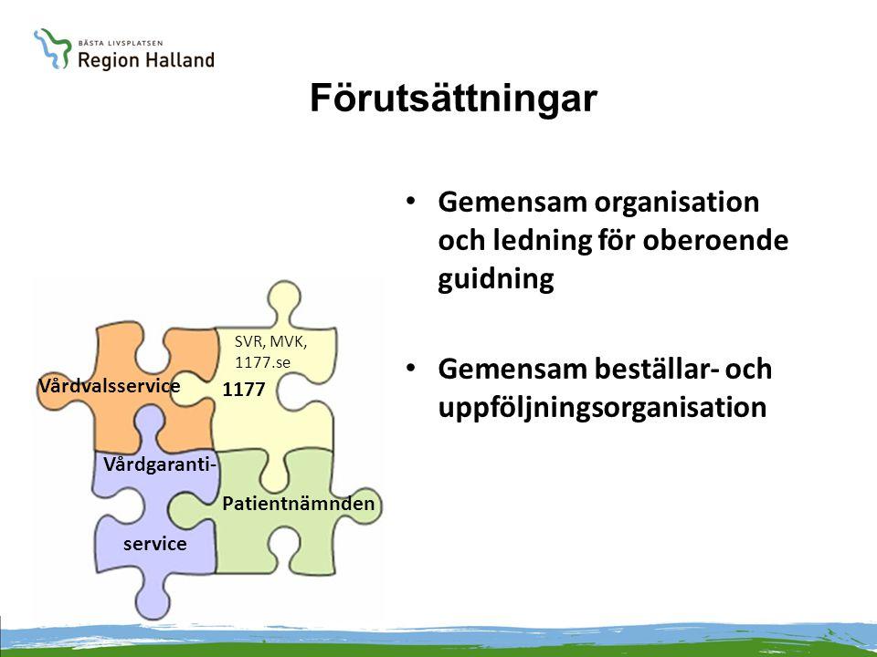 Förutsättningar Gemensam organisation och ledning för oberoende guidning. Gemensam beställar- och uppföljningsorganisation.
