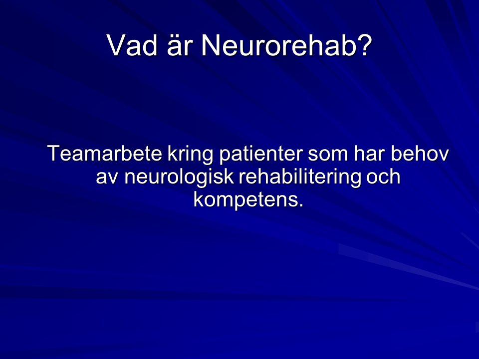 Vad är Neurorehab Teamarbete kring patienter som har behov av neurologisk rehabilitering och kompetens.