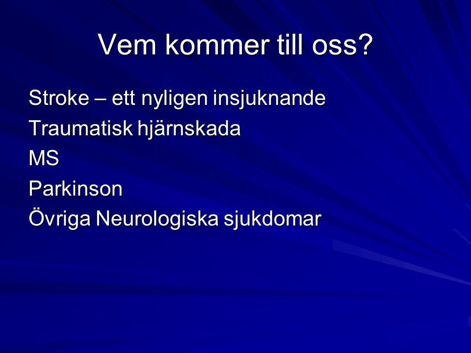 Vem kommer till oss Stroke – ett nyligen insjuknande Traumatisk hjärnskada MS Parkinson Övriga Neurologiska sjukdomar