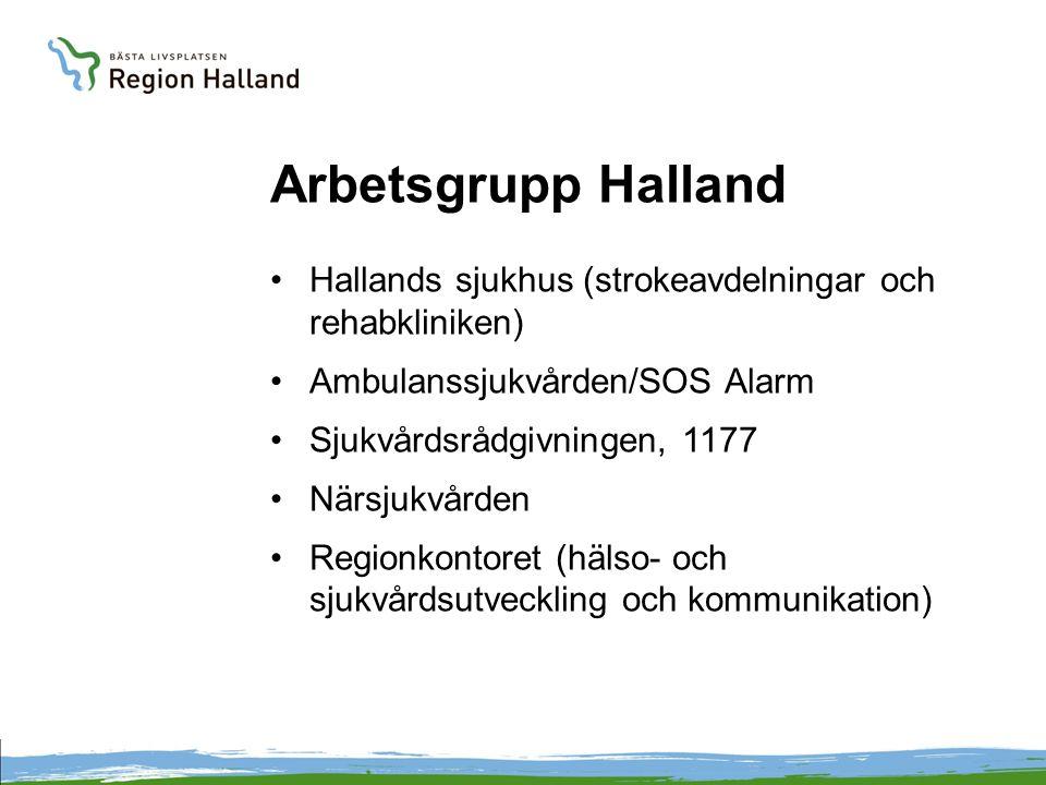 Arbetsgrupp Halland Hallands sjukhus (strokeavdelningar och rehabkliniken) Ambulanssjukvården/SOS Alarm.