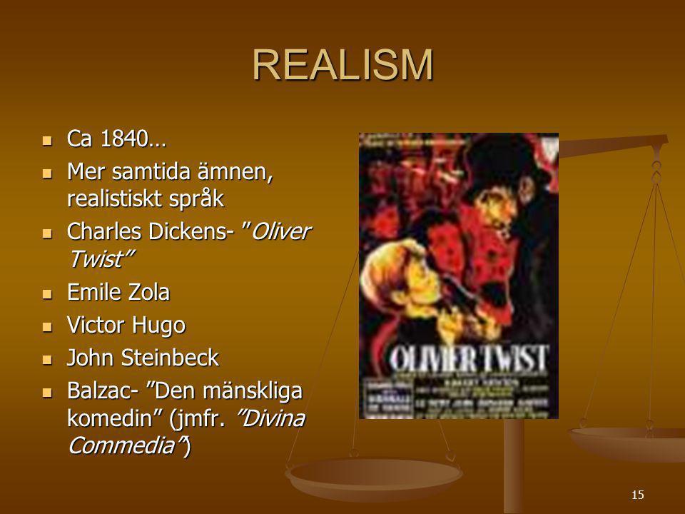 REALISM Ca 1840… Mer samtida ämnen, realistiskt språk