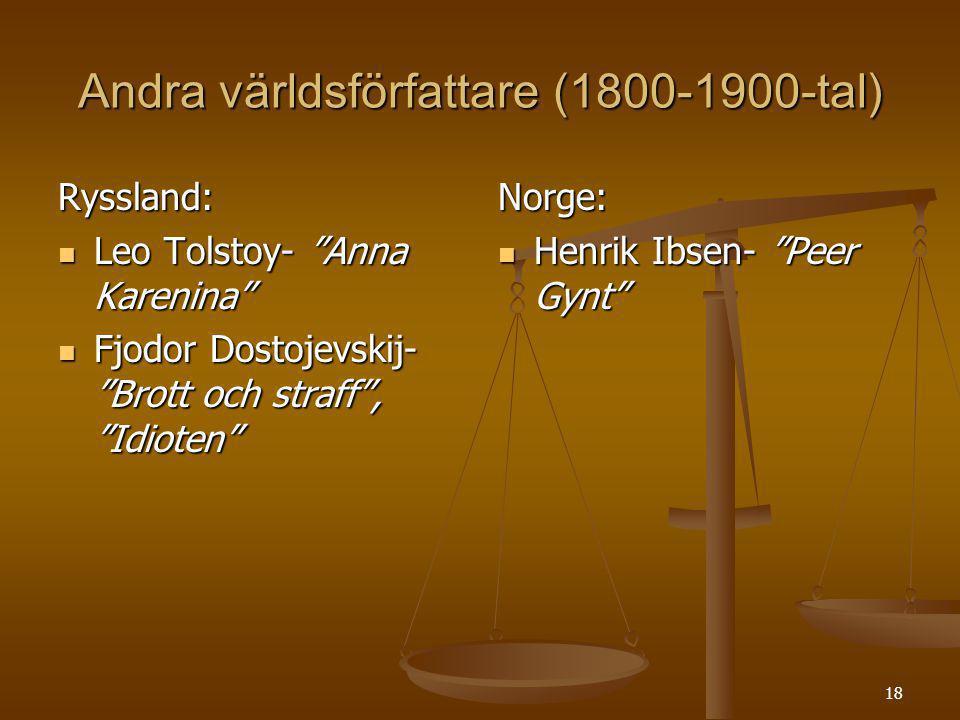 Andra världsförfattare (1800-1900-tal)