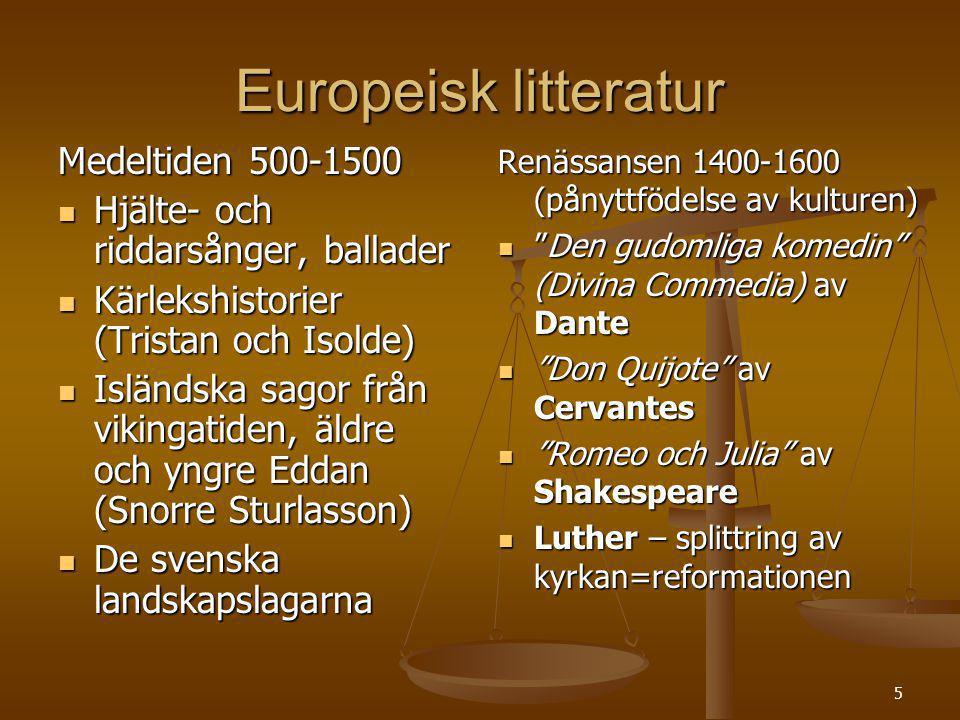 Europeisk litteratur Medeltiden 500-1500