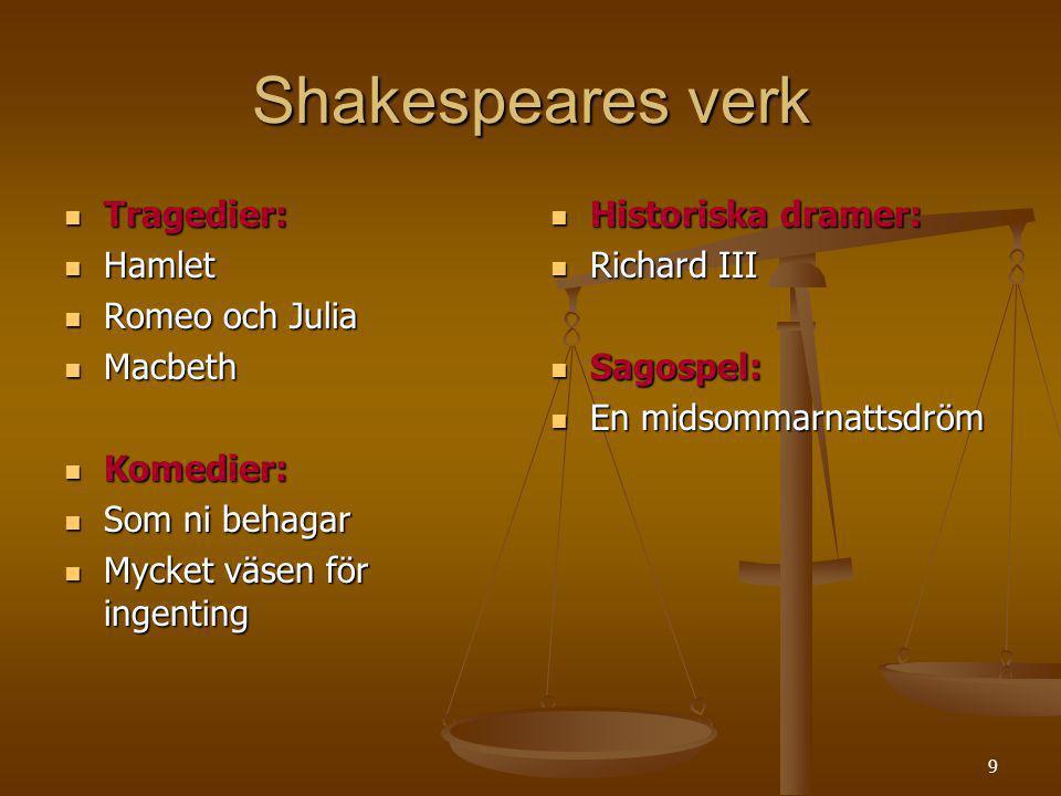 Shakespeares verk Tragedier: Hamlet Romeo och Julia Macbeth Komedier:
