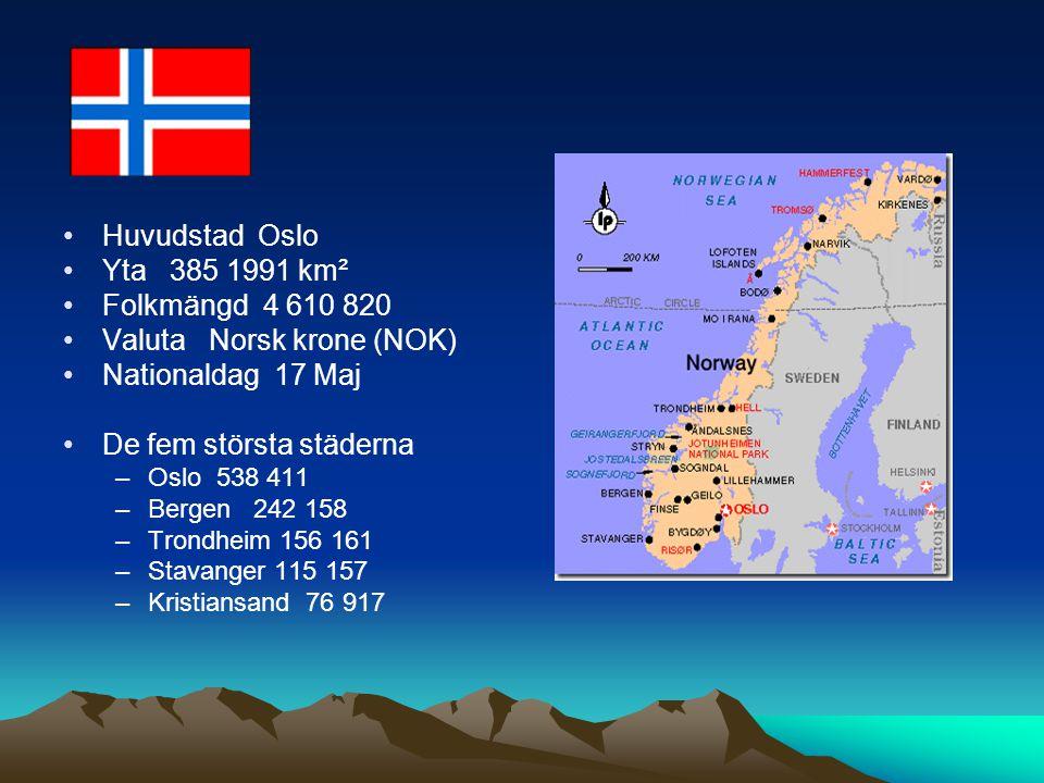 Valuta Norsk krone (NOK) Nationaldag 17 Maj De fem största städerna