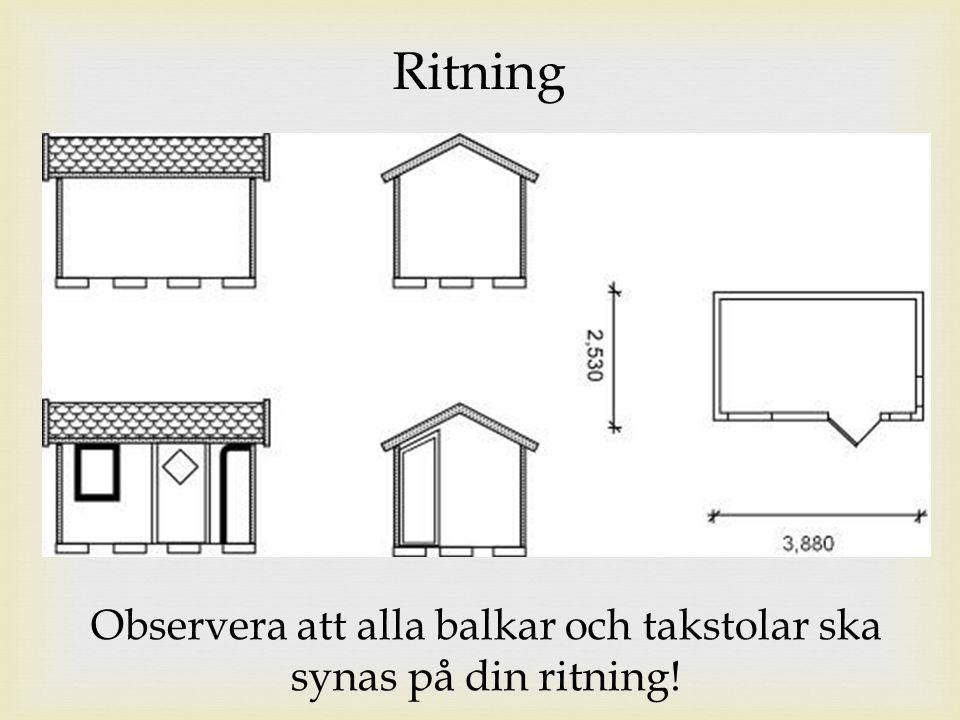 Observera att alla balkar och takstolar ska synas på din ritning!