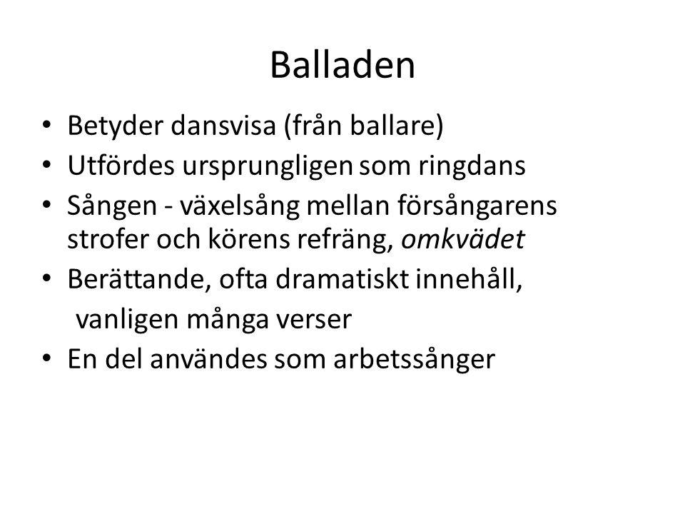 Balladen Betyder dansvisa (från ballare)