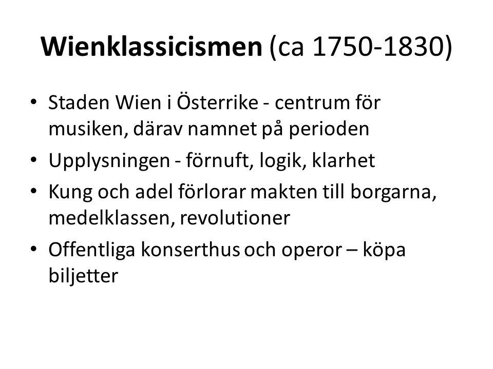 Wienklassicismen (ca 1750-1830)
