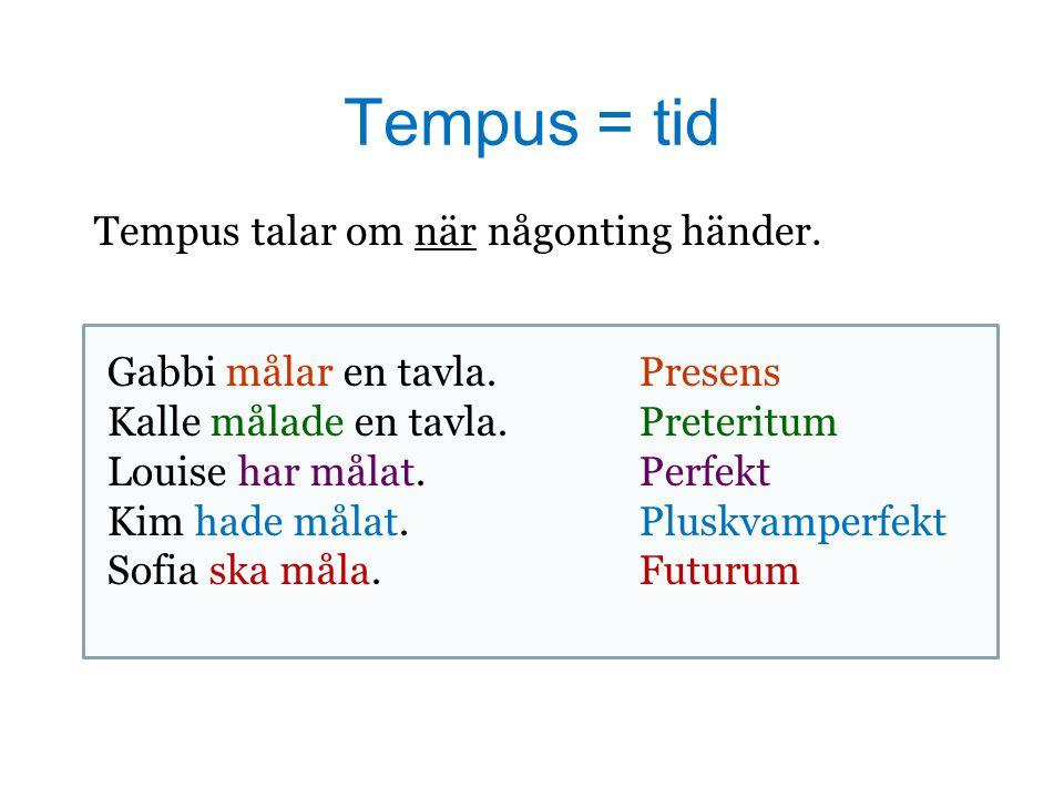 Tempus = tid Tempus talar om när någonting händer.