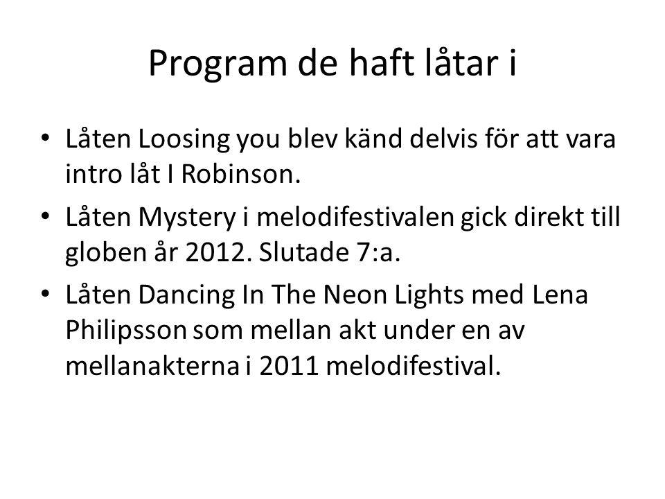 Program de haft låtar i Låten Loosing you blev känd delvis för att vara intro låt I Robinson.