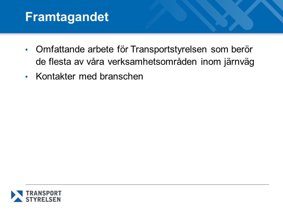 Framtagandet Omfattande arbete för Transportstyrelsen som berör de flesta av våra verksamhetsområden inom järnväg.