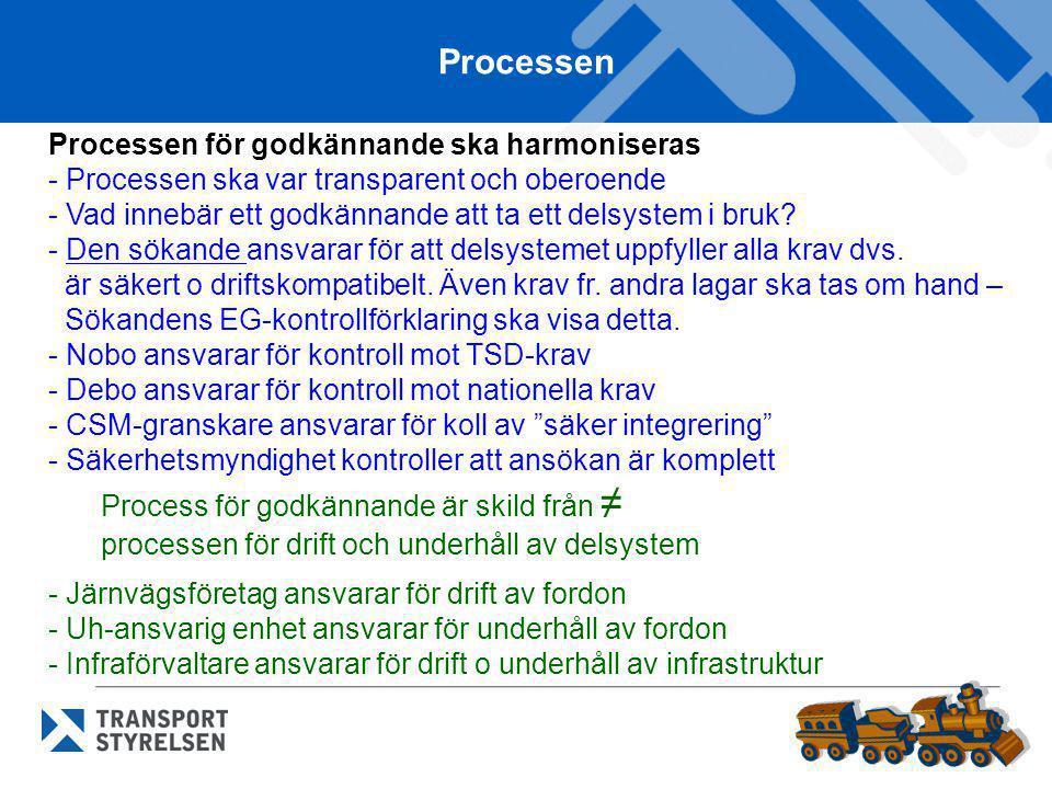 Processen Processen för godkännande ska harmoniseras