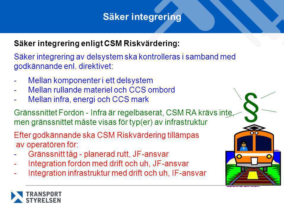 § Säker integrering Säker integrering enligt CSM Riskvärdering: