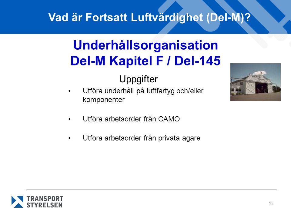 Underhållsorganisation Del-M Kapitel F / Del-145
