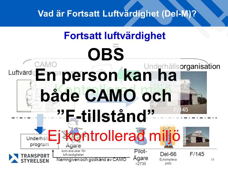 OBS En person kan ha både CAMO och F-tillstånd