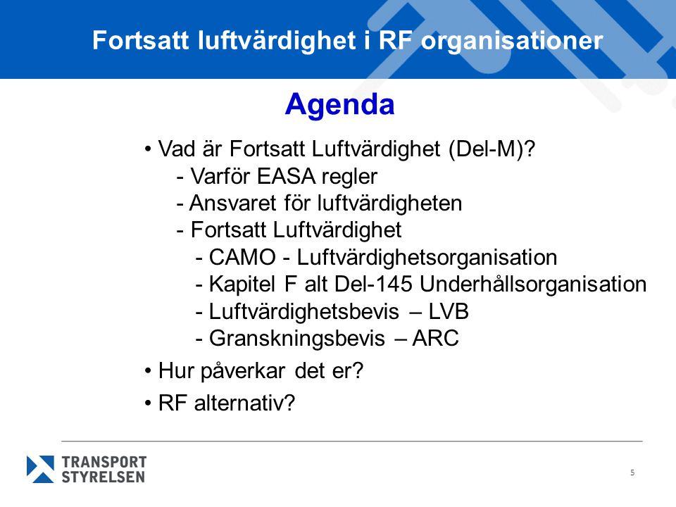 Fortsatt luftvärdighet i RF organisationer
