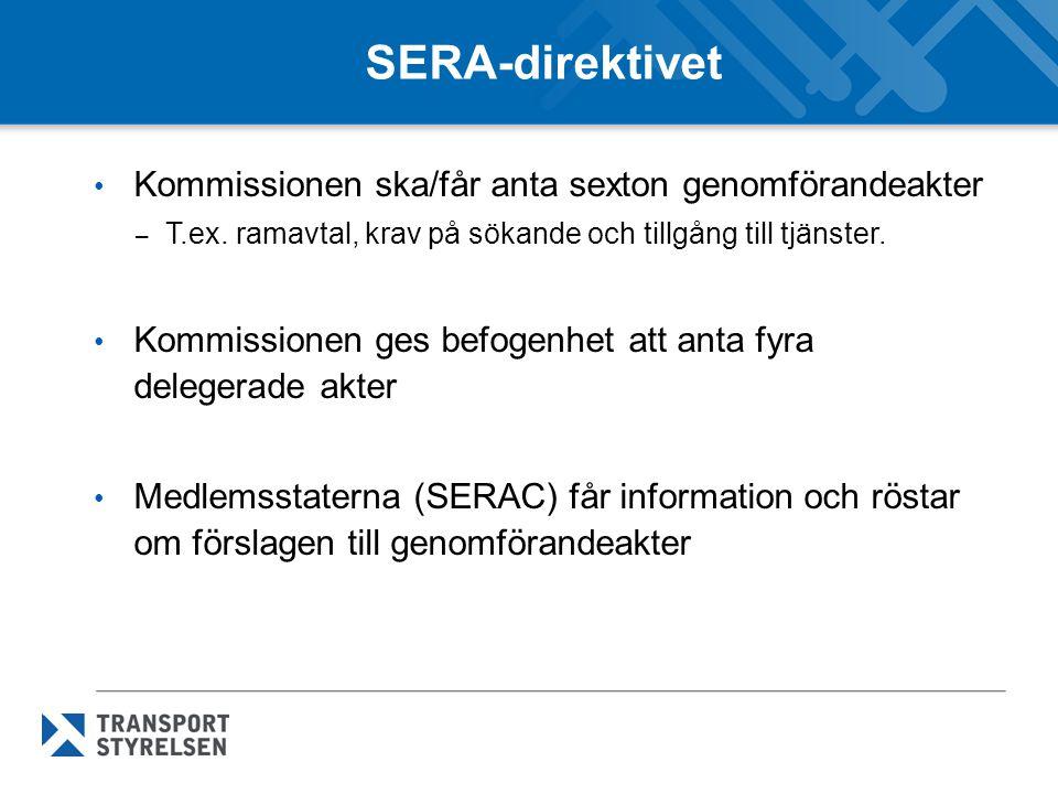 SERA-direktivet Kommissionen ska/får anta sexton genomförandeakter
