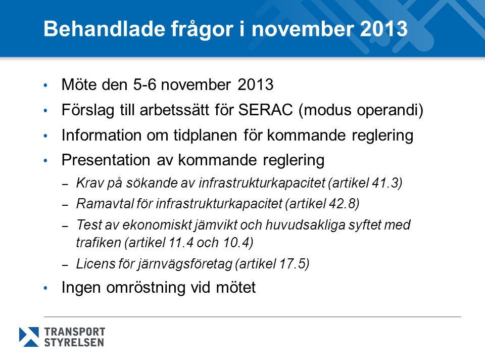 Behandlade frågor i november 2013
