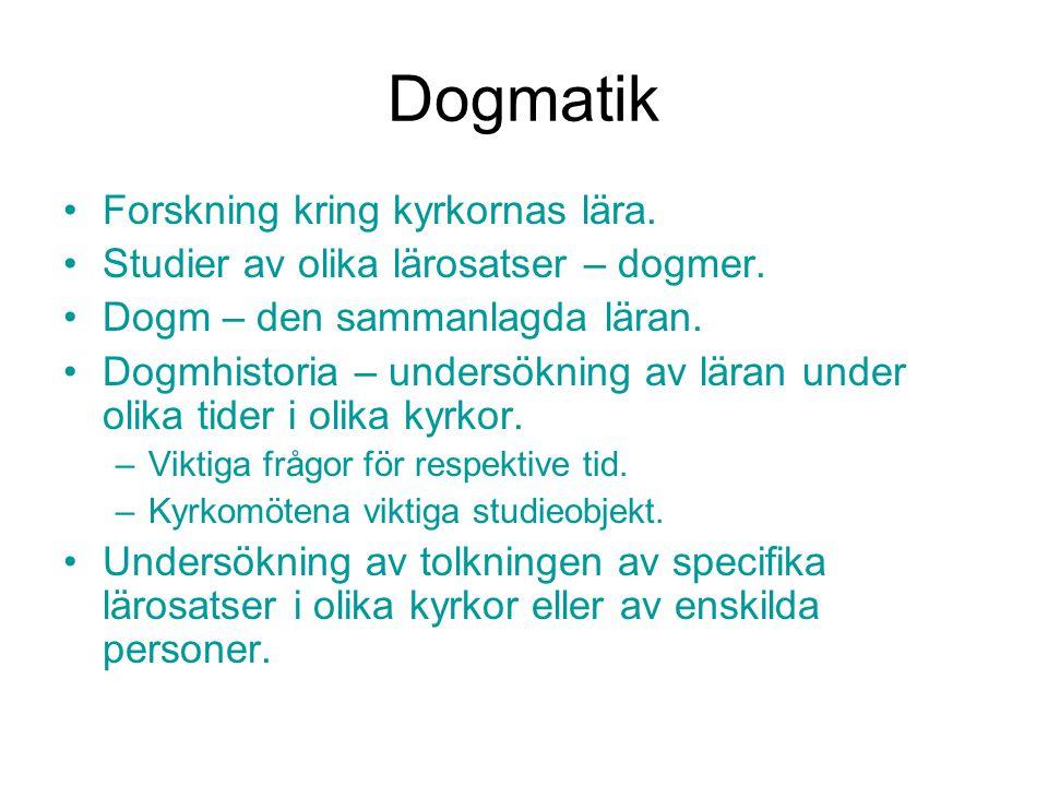 Dogmatik Forskning kring kyrkornas lära.