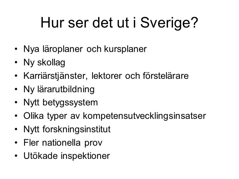 Hur ser det ut i Sverige Nya läroplaner och kursplaner Ny skollag