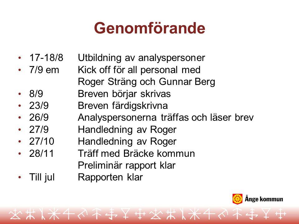 Genomförande 17-18/8 Utbildning av analyspersoner
