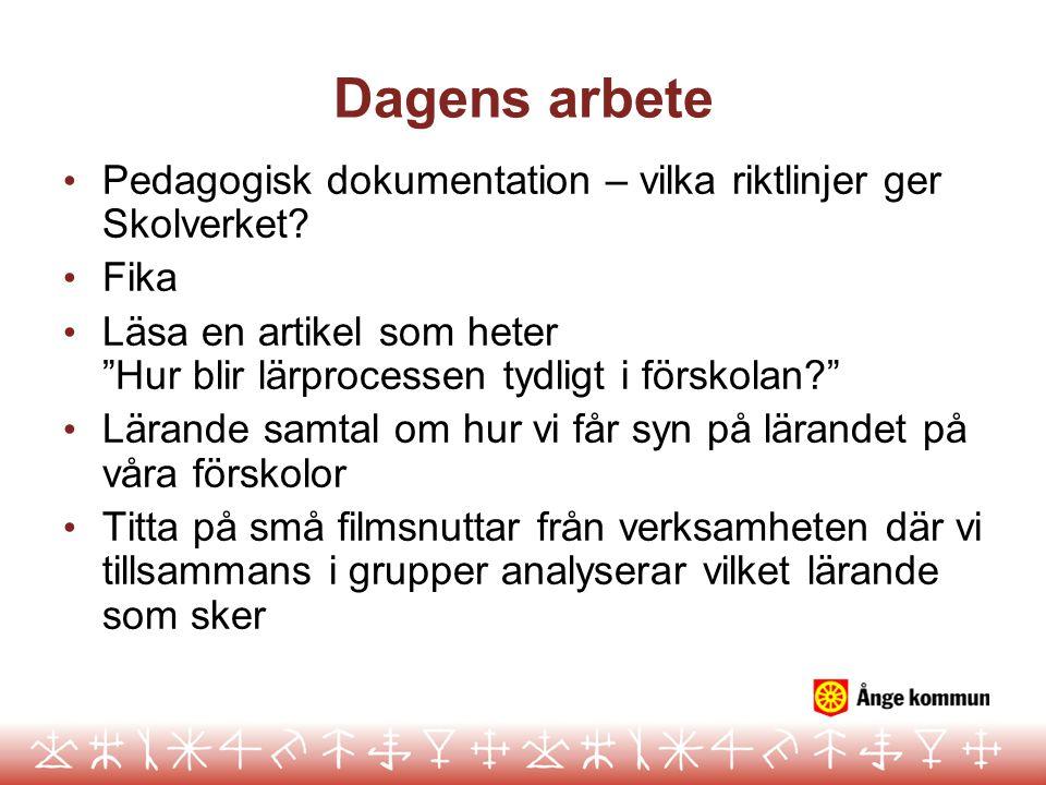 Dagens arbete Pedagogisk dokumentation – vilka riktlinjer ger Skolverket Fika.