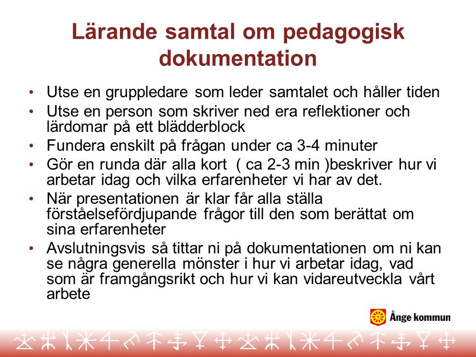 Lärande samtal om pedagogisk dokumentation