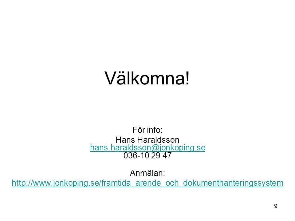 Hans Haraldsson hans.haraldsson@jonkoping.se 036-10 29 47