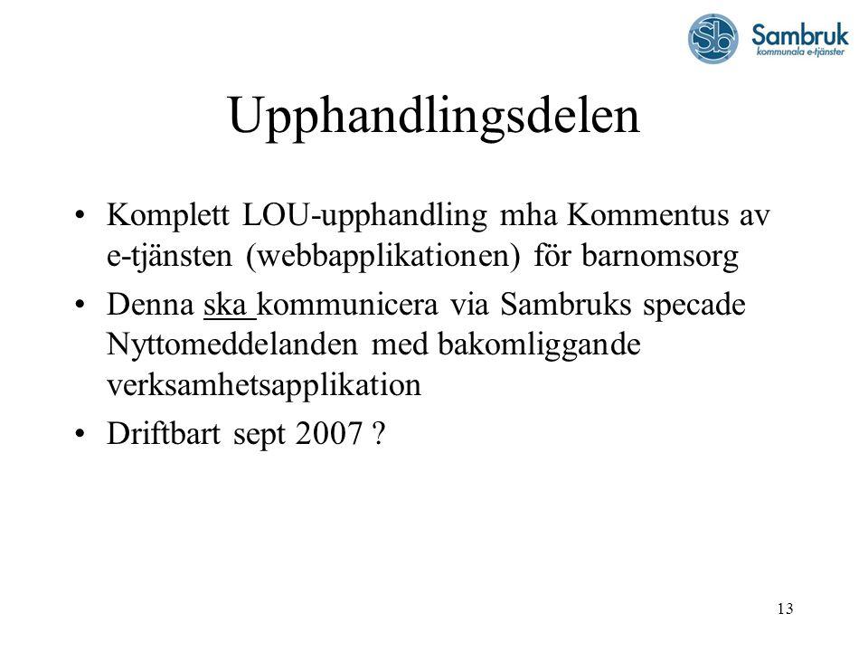 Upphandlingsdelen Komplett LOU-upphandling mha Kommentus av e-tjänsten (webbapplikationen) för barnomsorg.