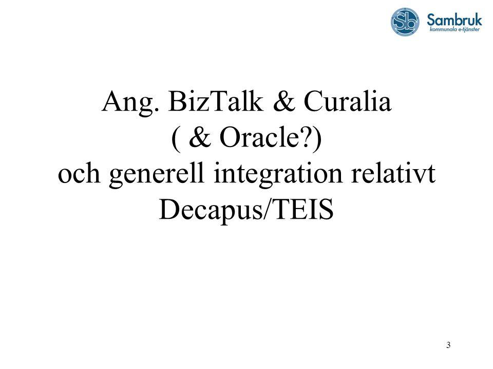 Ang. BizTalk & Curalia ( & Oracle