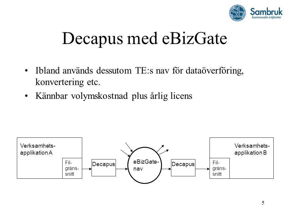 Decapus med eBizGate Ibland används dessutom TE:s nav för dataöverföring, konvertering etc. Kännbar volymskostnad plus årlig licens.