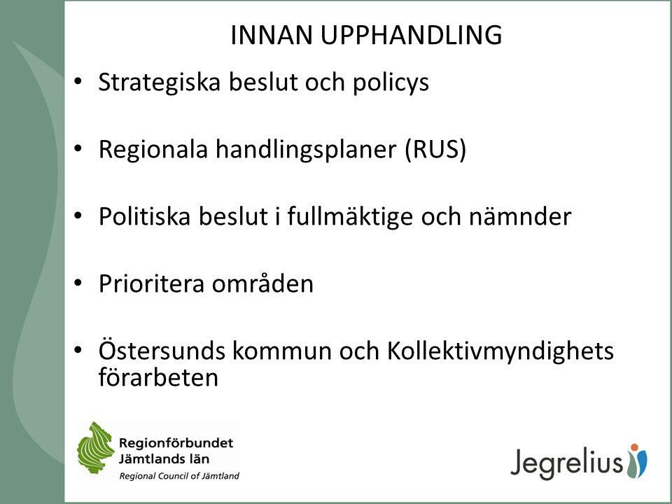 INNAN UPPHANDLING Strategiska beslut och policys