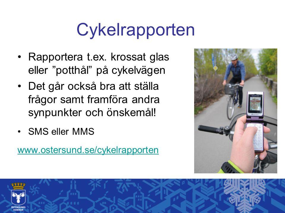 Cykelrapporten Rapportera t.ex. krossat glas eller potthål på cykelvägen.