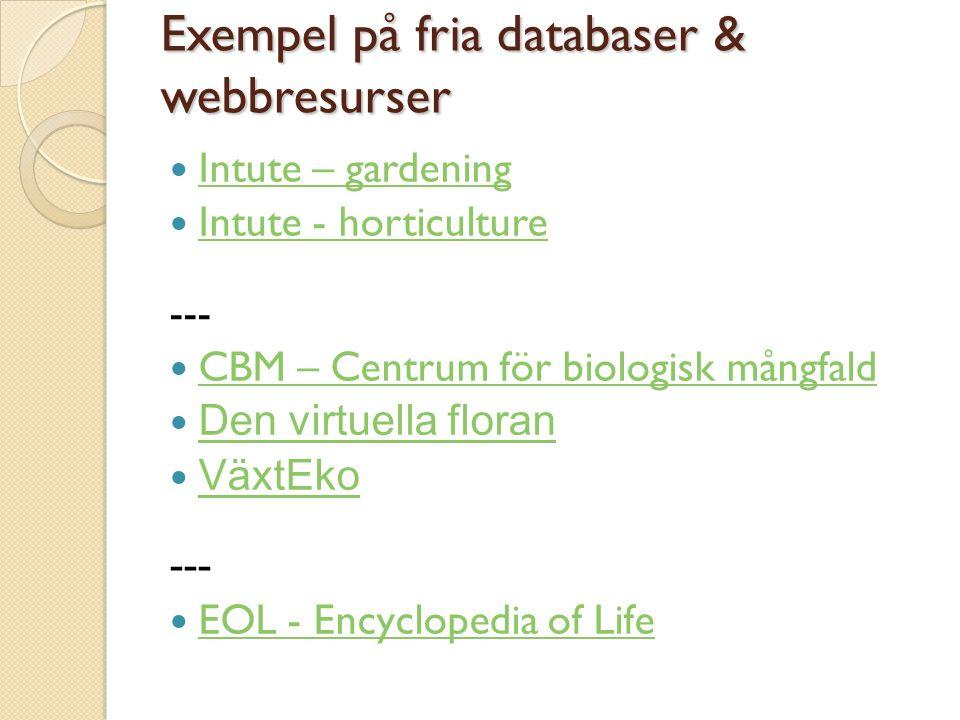 Exempel på fria databaser & webbresurser