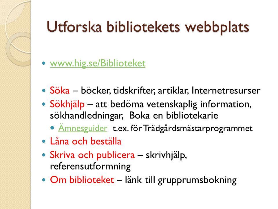 Utforska bibliotekets webbplats