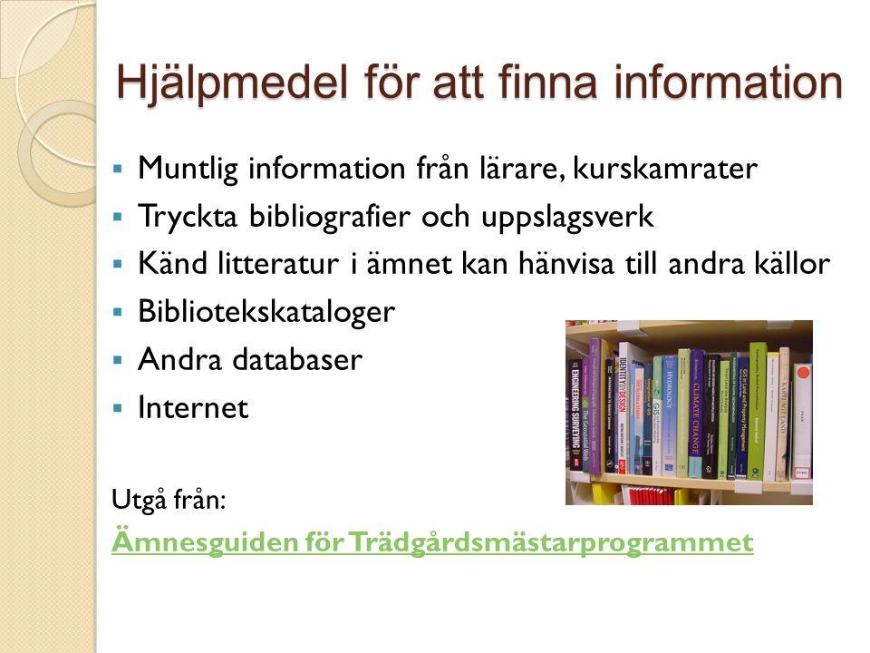 Hjälpmedel för att finna information