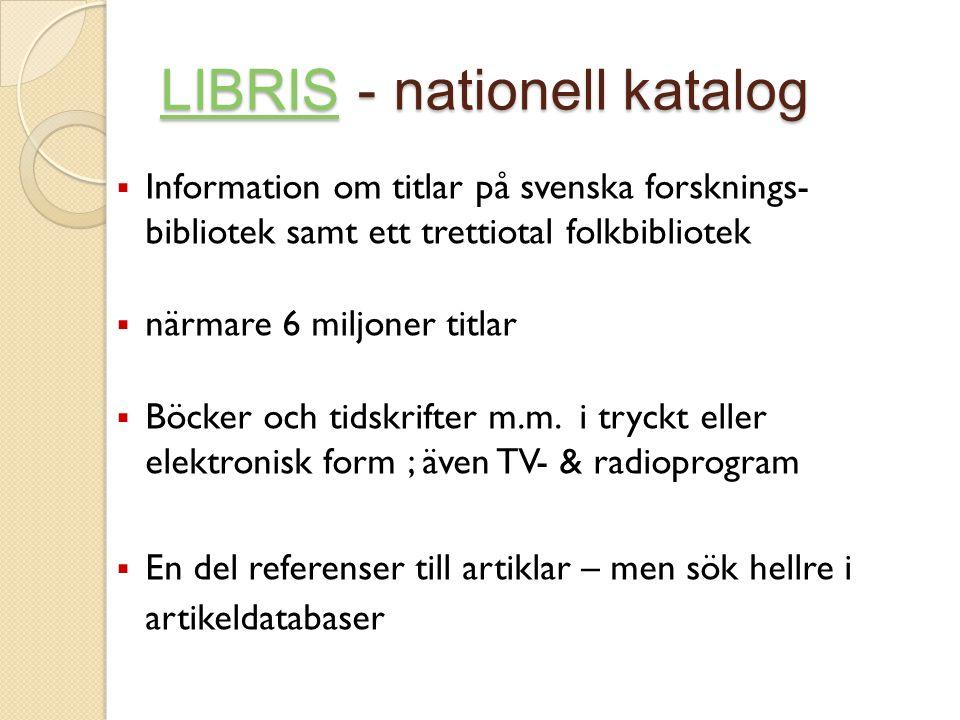 LIBRIS - nationell katalog