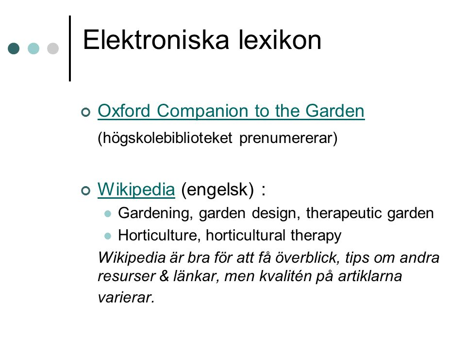 Elektroniska lexikon Oxford Companion to the Garden