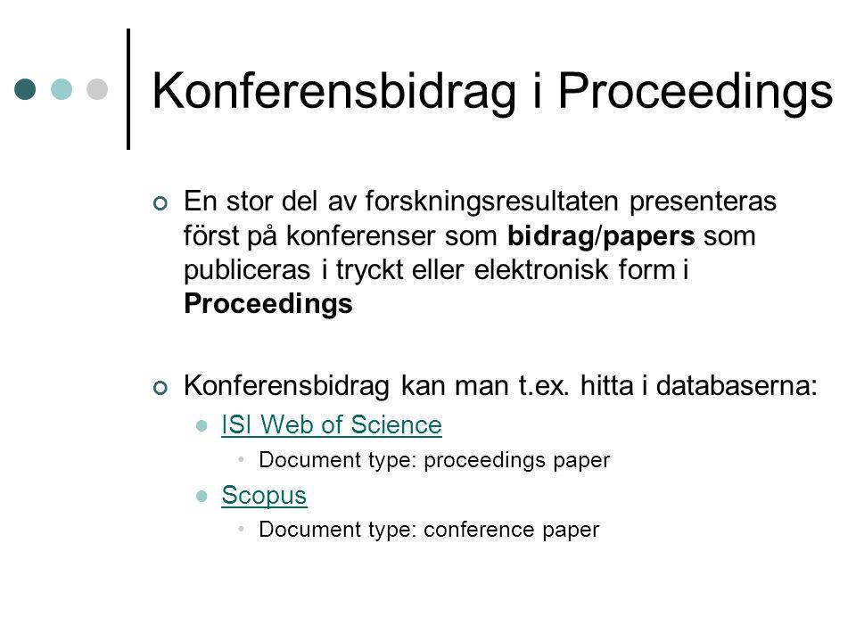 Konferensbidrag i Proceedings