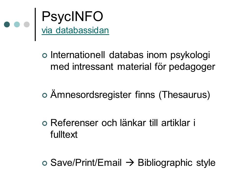 PsycINFO via databassidan